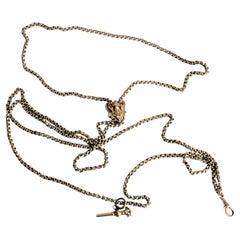 Antique Edwardian 9-Karat Yellow Gold Slide Watch Chain Necklace & Key