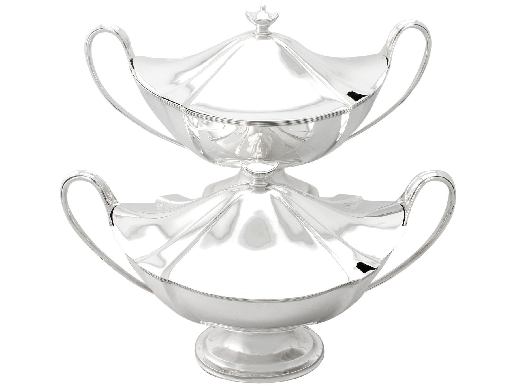 Antique Edwardian Adams Style Sterling Silver Soup Tureens