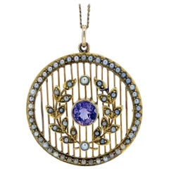 Antique Edwardian Amethyst and Pearl Pendant, circa 1910