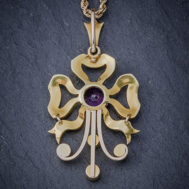Antique Edwardian Amethyst Pearl 15 Carat Gold, circa 1910 Pendant Necklace In Good Condition For Sale In Lancaster , GB