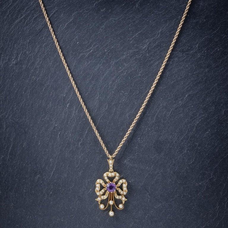 Women's Antique Edwardian Amethyst Pearl 15 Carat Gold, circa 1910 Pendant Necklace For Sale