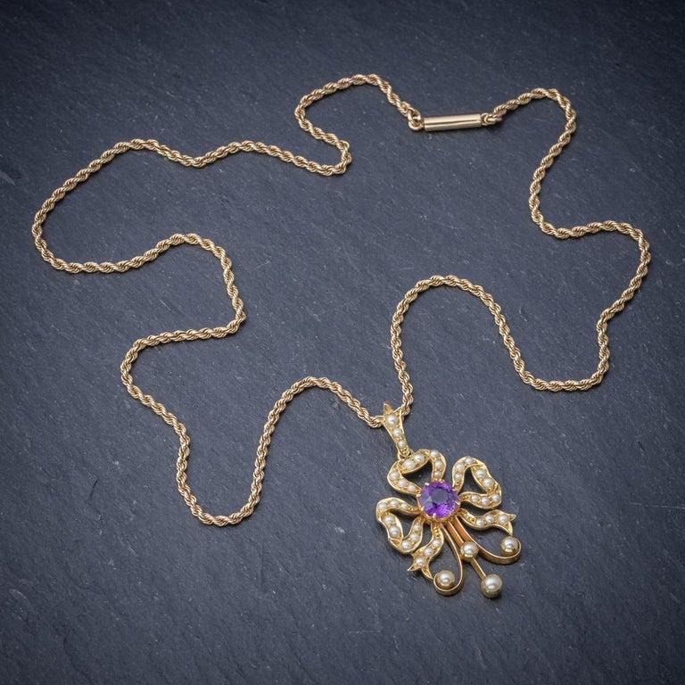 Antique Edwardian Amethyst Pearl 15 Carat Gold, circa 1910 Pendant Necklace For Sale 1