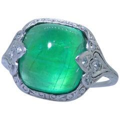 Antique Edwardian Antique Platinum and Emerald Ring, circa 1903