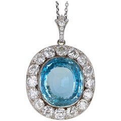 Antique Edwardian Aquamarine Diamond Platinum Pendant Necklace