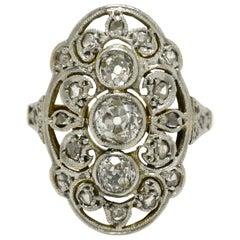 Antique Edwardian Art Deco Diamond Long Cocktail Ring 3-Stone, 1910