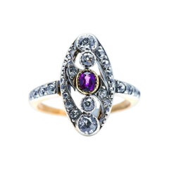 Antique, Edwardian, Art Nouveau, 18ct Gold, Ruby and Diamond Ring