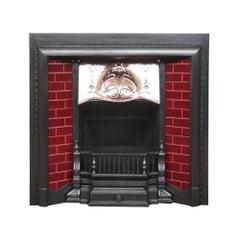 Antique Edwardian Art Nouveau Cast Iron and Copper Fireplace Insert