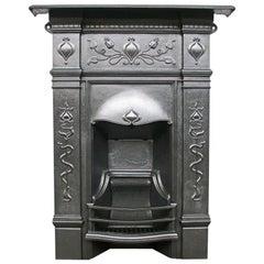 Antique Edwardian Art Nouveau Cast Iron Bedroom Combination Fireplace