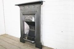 Antique Edwardian Art Nouveau Cast Iron Bedroom Fireplace