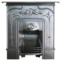 Antique Edwardian Art Nouveau Cast Iron Combination Fireplace