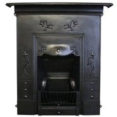 Antique Edwardian Art Nouveau Cast Iron Combination Grate