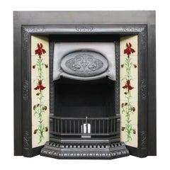 Antique Edwardian Art Nouveau Cast Iron Fireplace Insert