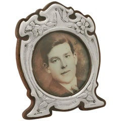 Antique Edwardian Art Nouveau Style Sterling Silver Photograph Frame