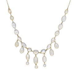 Antique Edwardian Blue Moonstone Festoon Necklace