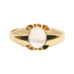 Antique Edwardian Blue Moonstone Solitaire Ring