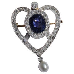 Antique Edwardian Blue Sapphire Diamond Pearl Gold Platinum Heart Brooch Pendant