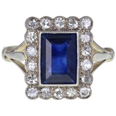 Antique Edwardian Blue Sapphire Diamond Rectangular Cluster Ring