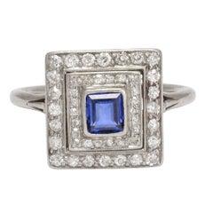 Antique Edwardian Blue Sapphire Diamond Square Halo Platinum Ring