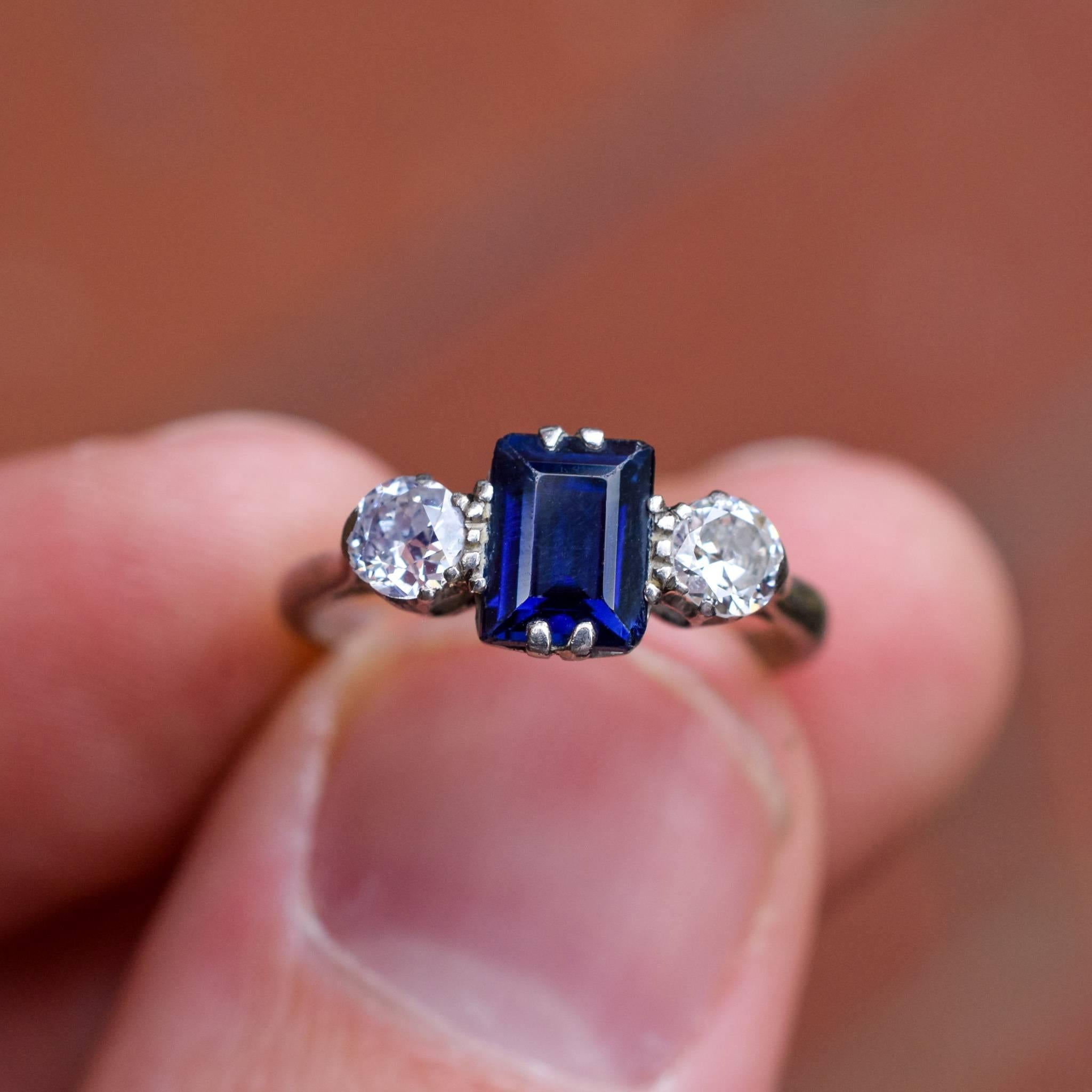 Antique Edwardian Blue Sapphire Diamond Three-Stone Platinum Ring at ...
