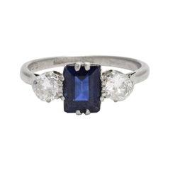 Antique Edwardian Blue Sapphire Diamond Three-Stone Platinum Ring