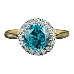 Antique Edwardian Blue Zircon Diamond 2.5 Carat Zircon 18 Carat Gold Ring