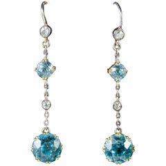 Antique Edwardian Blue Zircon Diamond Drop Earrings 18 Carat Gold, circa 1910
