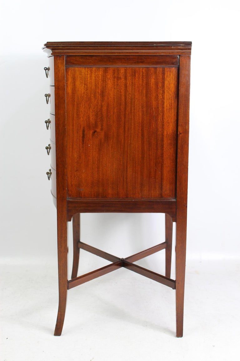 Antique Edwardian Bow Front Mahogany Music Cabinet English Chest, circa 1910 In Good Condition For Sale In Leeds, West Yorkshire
