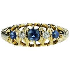 Antique Edwardian British Hallmarked 18k Old European Diamond and Sapphire Ring