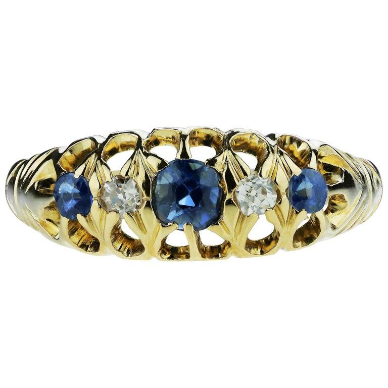 Antique Edwardian British Hallmarked 18k Old European Diamond and Sapphire Ring For Sale
