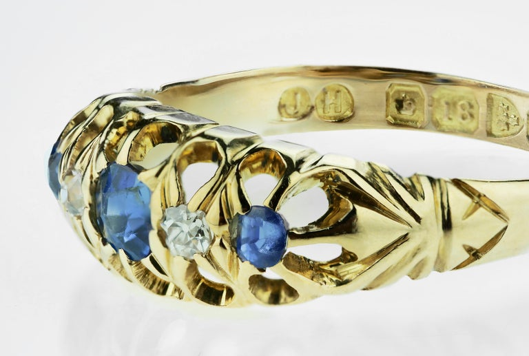 Sapphire and old European cut diamonds in 18k gold, with rare British Hallmarked, town mark Chester 1908, sponsor mark