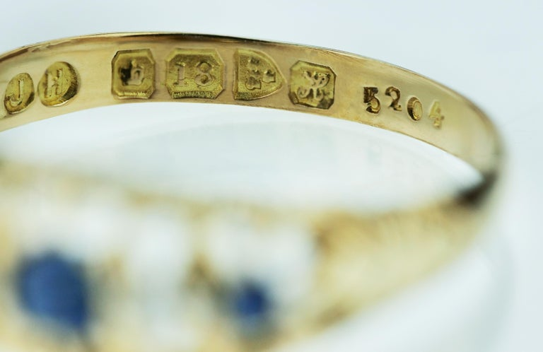 Old European Cut Antique Edwardian British Hallmarked 18k Old European Diamond and Sapphire Ring For Sale