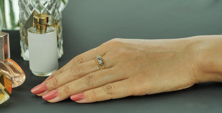 Women's Antique Edwardian British Hallmarked 18k Old European Diamond and Sapphire Ring For Sale