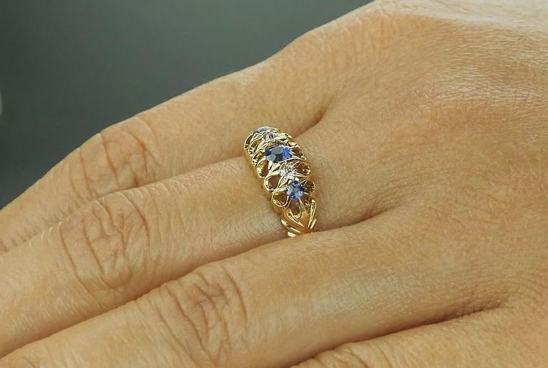 Antique Edwardian British Hallmarked 18k Old European Diamond and Sapphire Ring For Sale 1
