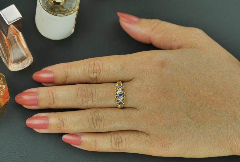 Antique Edwardian British Hallmarked 18k Old European Diamond and Sapphire Ring For Sale 2