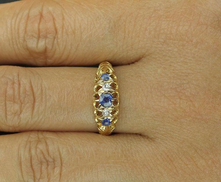 Antique Edwardian British Hallmarked 18k Old European Diamond and Sapphire Ring For Sale 3