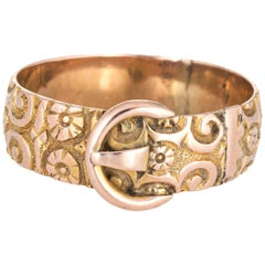 Antique Edwardian Buckle Ring Chased 9 Karat Rose Gold Flower Pattern Vintage