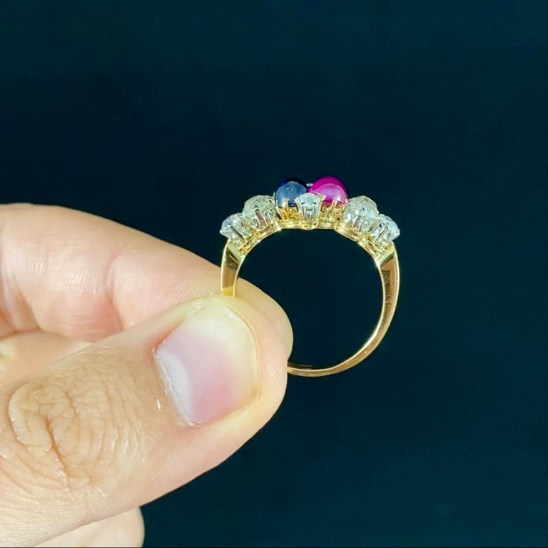 Antique Edwardian Burmese Ruby Sapphire Old Diamond Engagement Ring Gold, 1910s For Sale 5