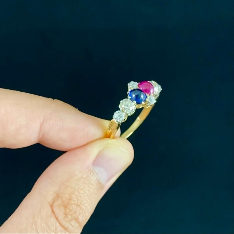 Antique Edwardian Burmese Ruby Sapphire Old Diamond Engagement Ring Gold, 1910s For Sale 6