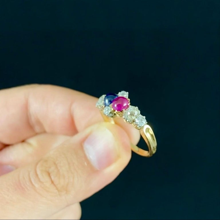 Antique Edwardian Burmese Ruby Sapphire Old Diamond Engagement Ring Gold, 1910s For Sale 7