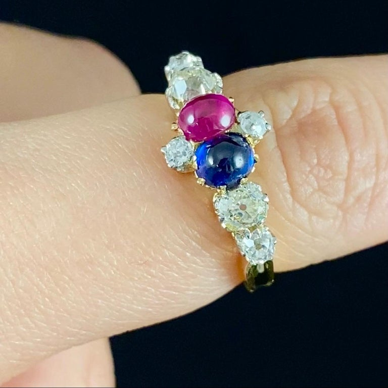 Cabochon Antique Edwardian Burmese Ruby Sapphire Old Diamond Engagement Ring Gold, 1910s For Sale
