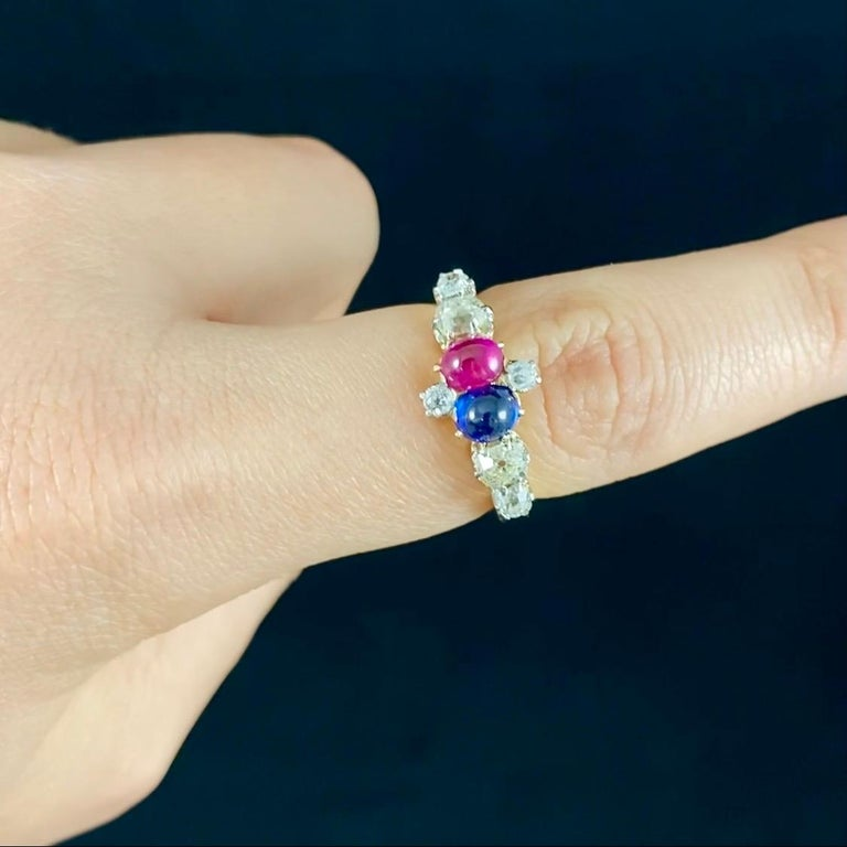 Antique Edwardian Burmese Ruby Sapphire Old Diamond Engagement Ring Gold, 1910s In Good Condition For Sale In Lisbon, PT