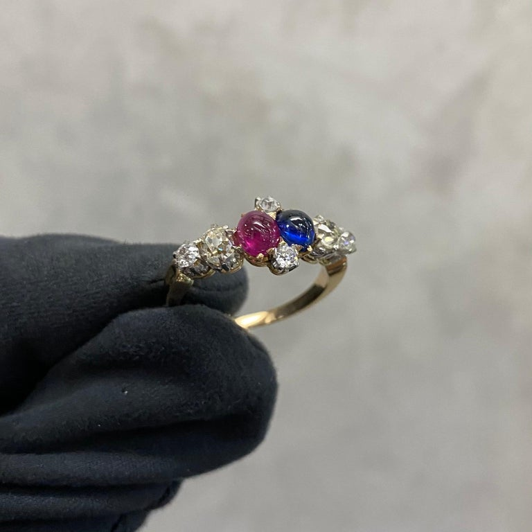 Women's or Men's Antique Edwardian Burmese Ruby Sapphire Old Diamond Engagement Ring Gold, 1910s For Sale