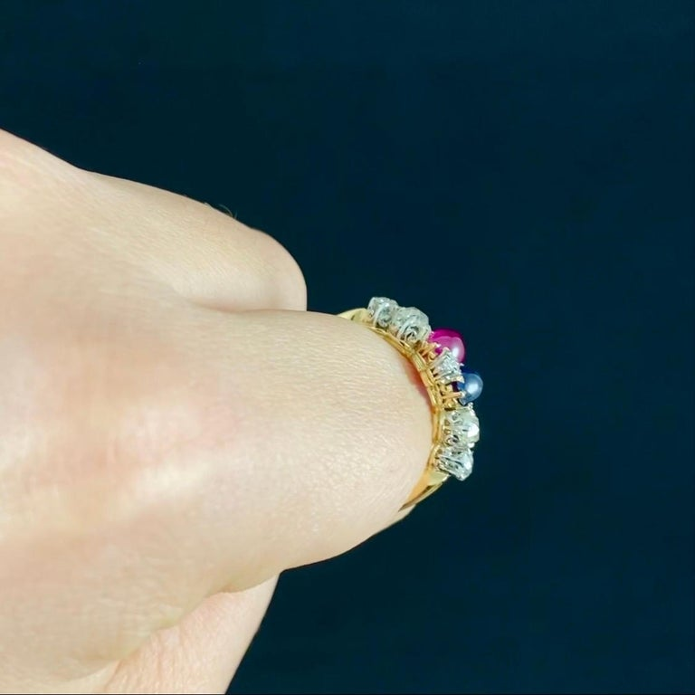 Antique Edwardian Burmese Ruby Sapphire Old Diamond Engagement Ring Gold, 1910s For Sale 1