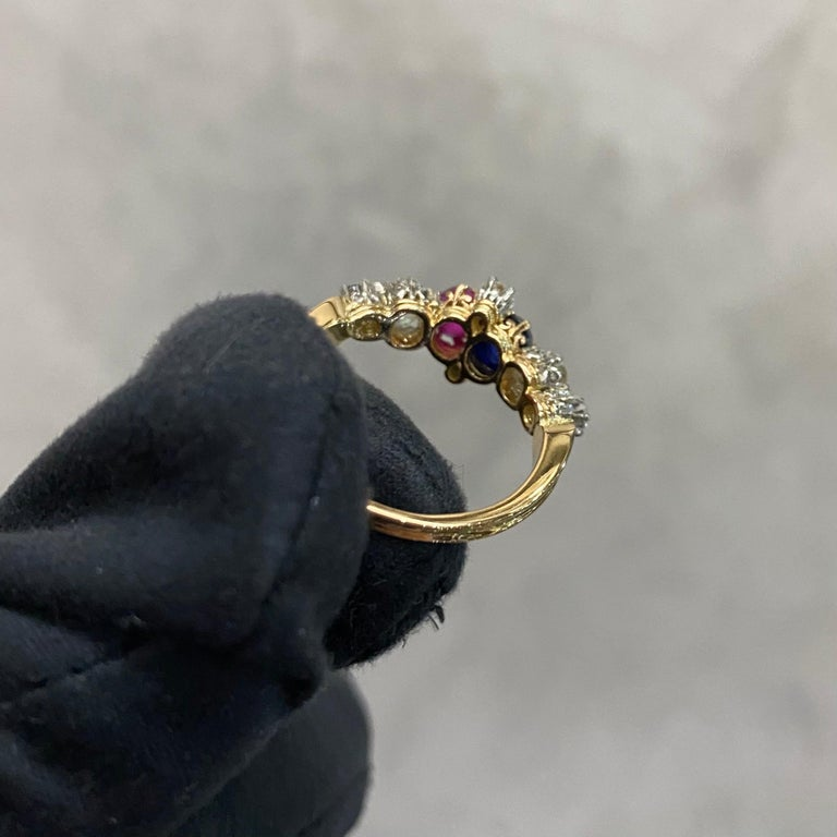 Antique Edwardian Burmese Ruby Sapphire Old Diamond Engagement Ring Gold, 1910s For Sale 2
