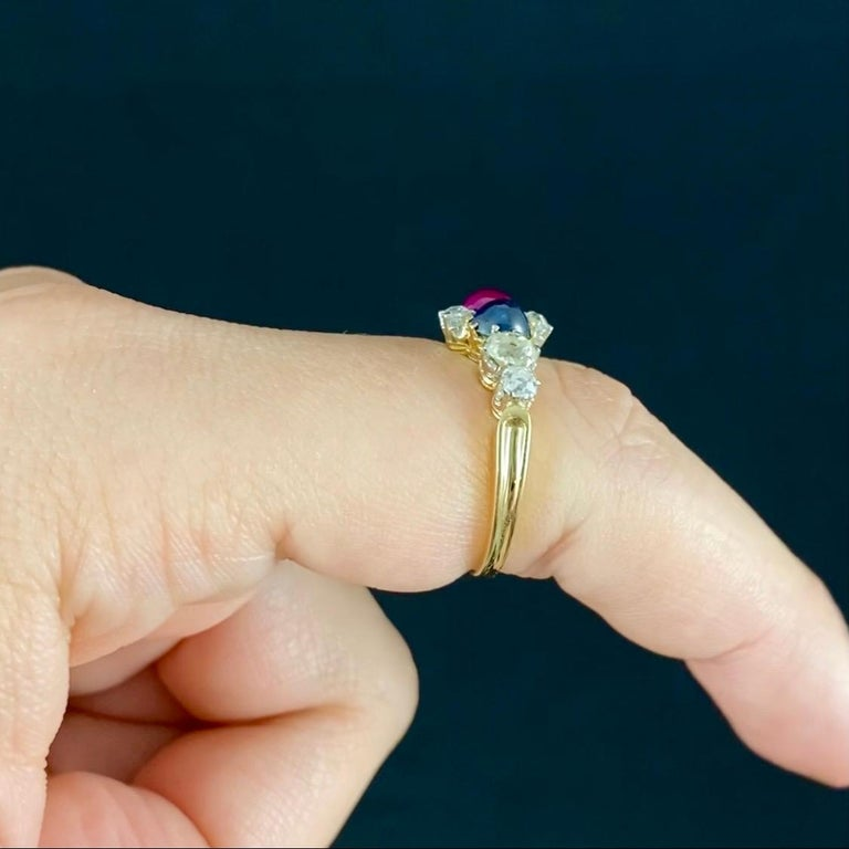 Antique Edwardian Burmese Ruby Sapphire Old Diamond Engagement Ring Gold, 1910s For Sale 3