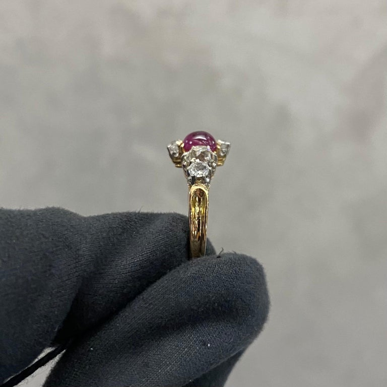 Antique Edwardian Burmese Ruby Sapphire Old Diamond Engagement Ring Gold, 1910s For Sale 4