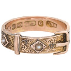 Antique Edwardian circa 1903 Hair Ring Buckle 9 Karat Rose Gold Mourning Jewelry