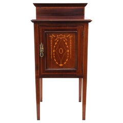 Antique Edwardian C1910 Inlaid Mahogany Bedside Table Cupboard