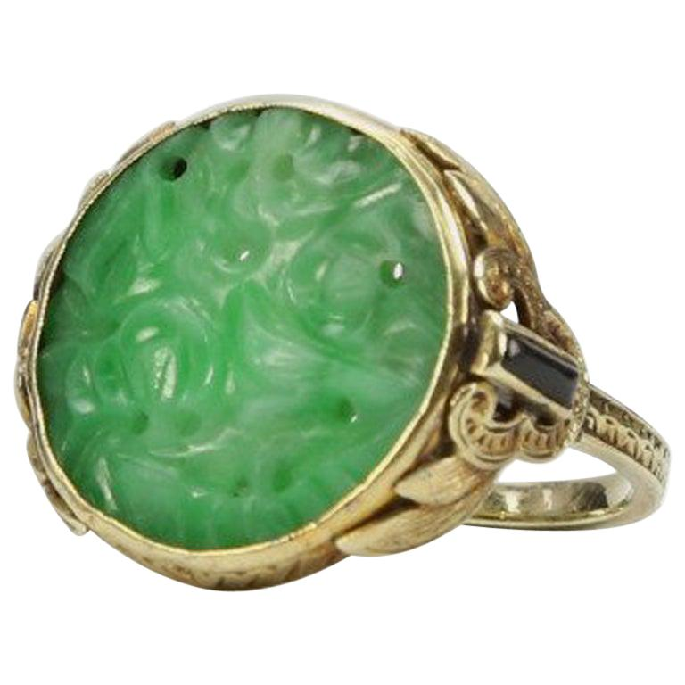 Antique Edwardian Carved Jade Onyx Gold Ring Estate Fine Jewelry