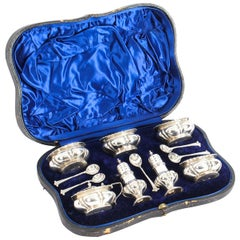 Antique Edwardian Cased Sterling Silver Cruet Set by S. W. Smith & Co., 1901
